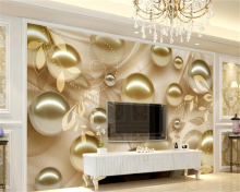 beibehang  Custom 3D photo wallpaper golden pearl ball wall painting 3d living room bedroom background behang