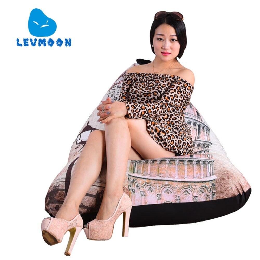 LEVMOON Pouf Canapé Tour Penchée de Pise Siège Zac Confort Sac de haricots Lit Couverture Sans Remplissage Coton Intérieur Pouf Salon chaise