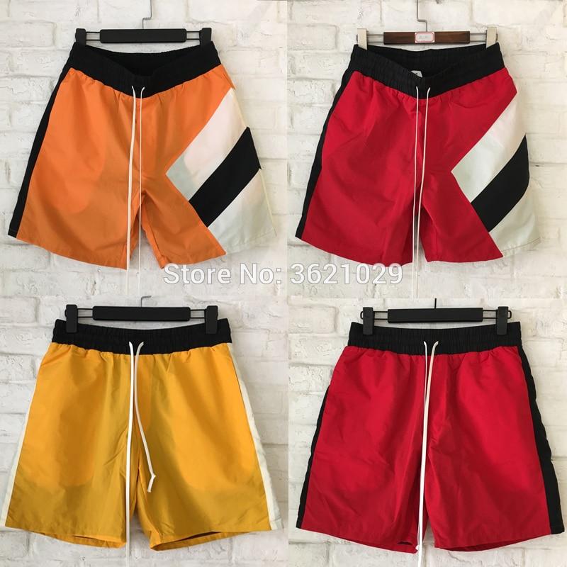 2018 justin bieber Red black blue yellow Splice Stripes Beach Shorts Hip hop Summer Style men women Casual Shorts M-XXL