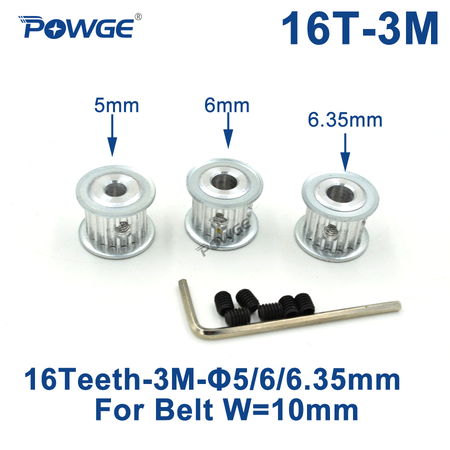 POWGE 16 Teeth HTD 3M Timing Pulley Bore 5mm 6mm 6.35mm for Width 10mm 3M synchronous belt HTD3M Belt pulley Gear 16Teeth 16T powge 1pcs steel 18 teeth htd 3m timing pulley bore 8mm for width12mm 3m timing belt rubber htd3m pulley belt tooth 18t 18teeth