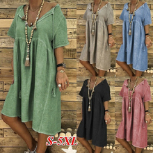 Loose Large Size Summer Solid Casual Women Short Dress 4xl Plus V Neck Pink Cotton Linen Beach Office Sleeves