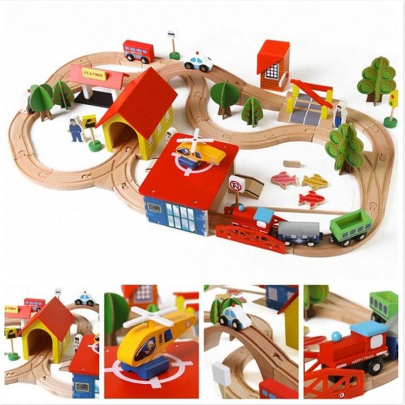 69 pièces ensembles de blocs de chemin de fer en bois pour enfants jouet créatif Puzzle de construction de scène de trafic avec pêche jouet éducatif cadeau d'anniversaire