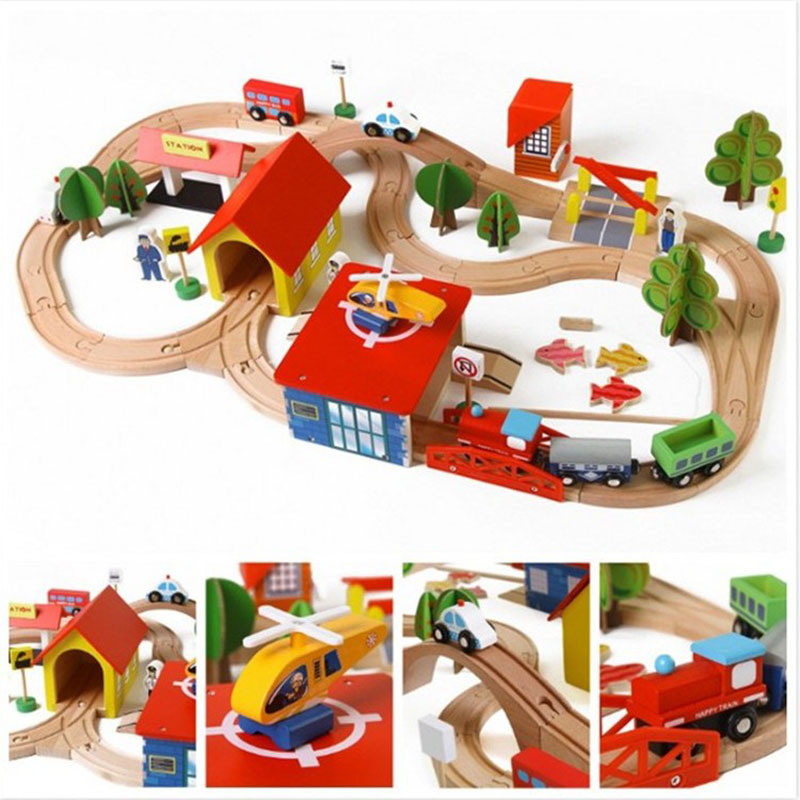 69pcs Kids Wooden Railway Block Sets Toy Creative Traffic Scene Building Puzzle with Fishing Educational Toy Birthday Gift