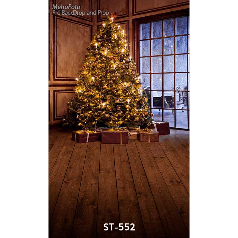Christmas background vinyl photography backdrops Computer Printed christmas tree and Gift box for Photo studio ST-552 white 3d decorations xmas tree hall fireplace room backdrops vinyl cloth computer printed christmas photo studio background