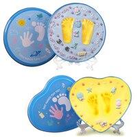 Мамам и детям Детские сувениры ручной работы и след производители мягкая глина для новорожденных Inkless Handprint след для 0-3 лет дети