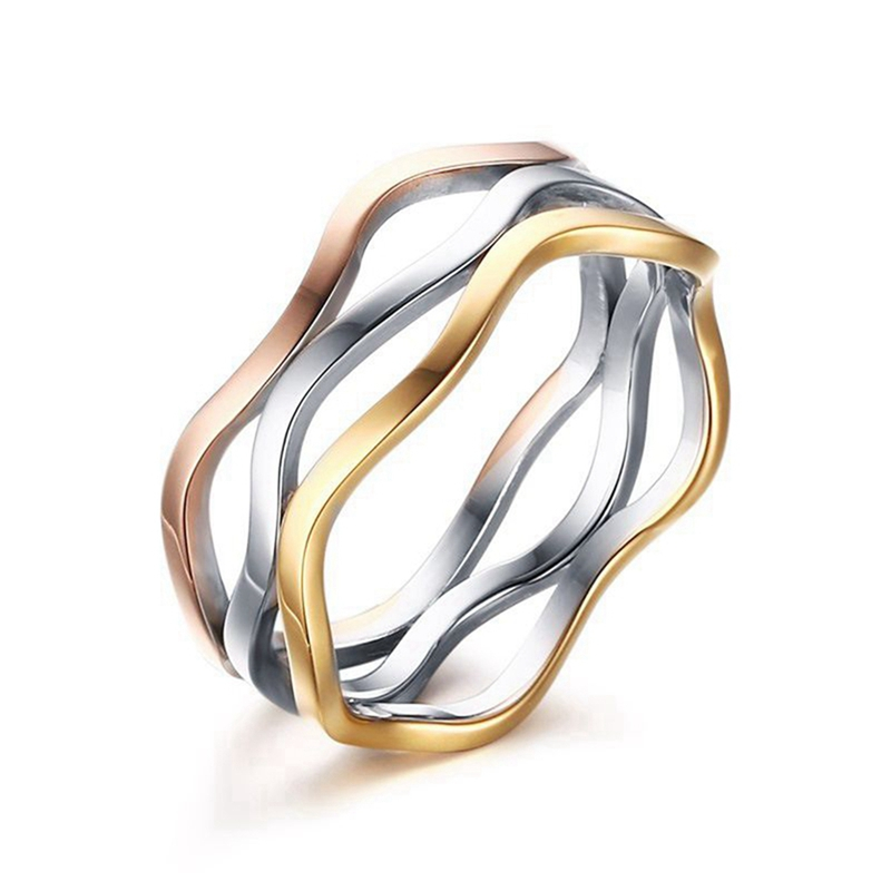1pc stainless steel multiple layers finger rings 3 colors wedding rings for women irregular creative engagement - Creative Wedding Rings