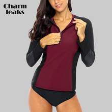 Charmleaks Women Long Sleeve Front Zipper Rashguard Shirt Swimsuit Patchwork Swimwear Surfing Top Hiking Rash Guard UPF50+