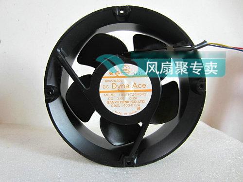 Original Sanyo 109E1724M543 17CM 24V0.2A round aluminum frame cooling fan original sanyo 109e5724h505 dc24v 0 58a 17cm 172 172 51mm inverter aluminum frame cooling fan
