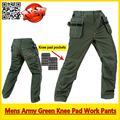 Mens workwear EVA knee pad work pant mechanic green work pants  working wear trousers free shipping