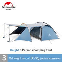 NatureHike Portable Family Camping Tent for 3 Person Outdoor Travel Cabin Tent with extended hall for camping equipment storage