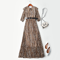 New Women s Clothes European Station Show Style Lotus Leaf Edge Leopard print Clothes Dresses and s Tide