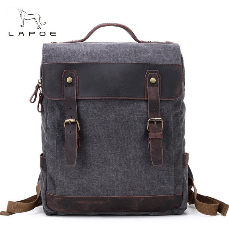 LAPOE  2018 Fashion Large Capacity Rucksack Men's Canvas Backpack MULTIFUNCTION Leisure Travel Men's Laptop Backpacks bag