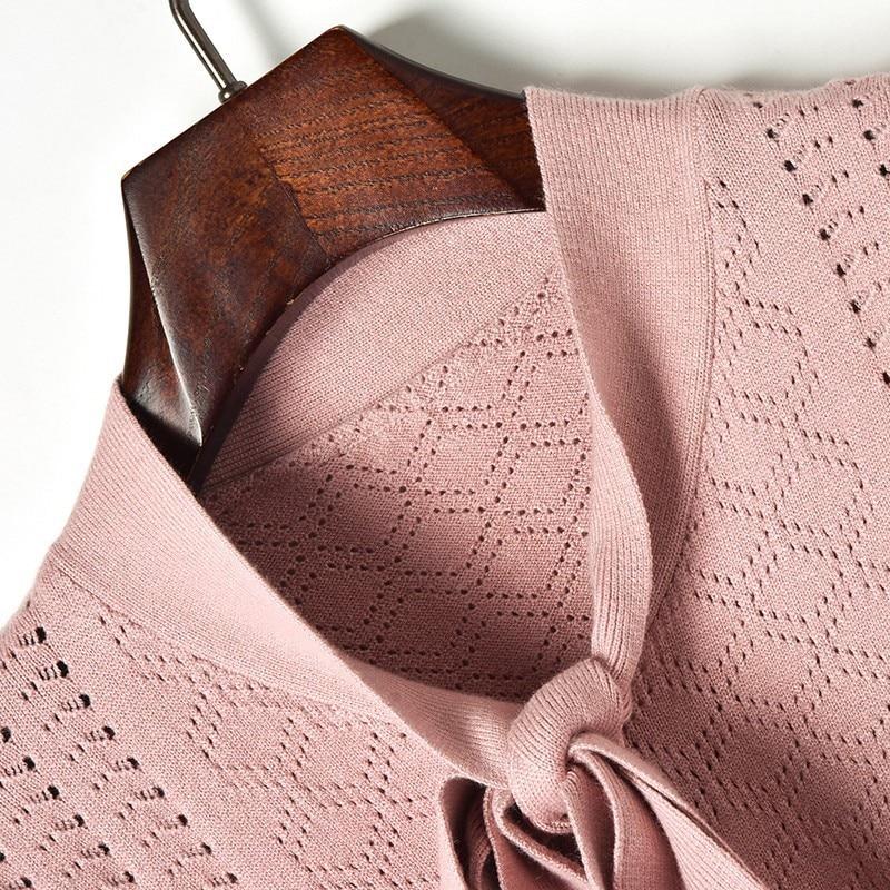 Chandail Robes De Moyen Tricot Solide 2019 Dames pink Femmes Doux Printemps Lacets Ajouré Robe Long Nouveau À Élégant Black Couleur Arcs white thQdxrCsB