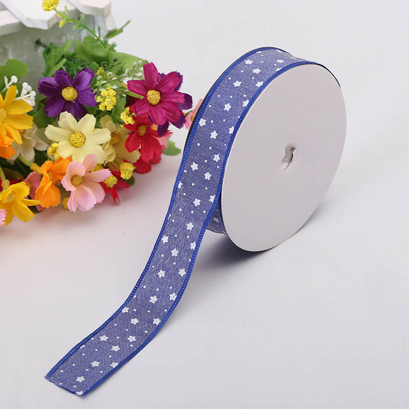 2 5cm Silk Ribbon Cowboy White Stars Stitching Clothing Material DIY Single Sided Gift Wrapping Ribbon Christmas Decoration in Ribbons from Home Garden