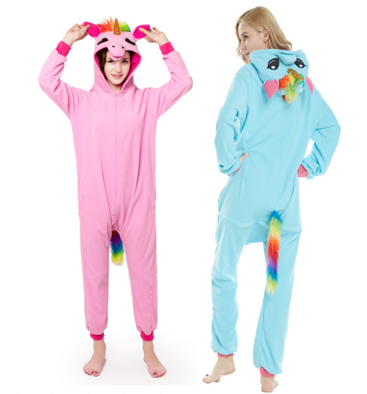 Kigurumi Adult Pyjamas Unicorn Unisex Cosplay Costume Blue Onesie Lemur Sleepwear Homewear Unisex Pajamas Party Clothing