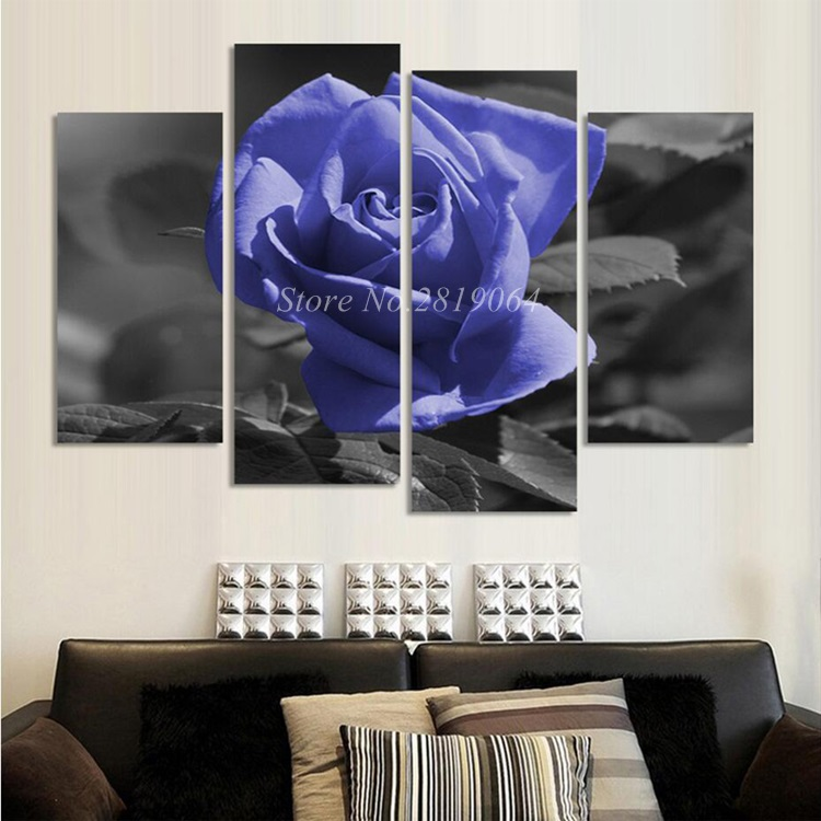 ( Unframed) 4 Pieces Beautiful Purple Rose Painting Wall Art Home Decoration HD Print Canvas Pictures Poster Unframed