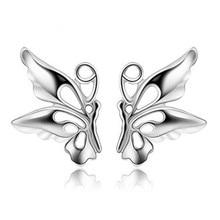 цена 100% 925 sterling silver fashion butterfly ladies`stud earrings jewelry women birthday gift Anti allergy drop shipping cheap в интернет-магазинах