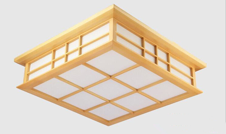 35X35cm Modern Japanese Ceiling Lights Washitsu Tatami Decor Lamp Wooden Living Room Hallway Indoor lantern Lamp Lighting Square