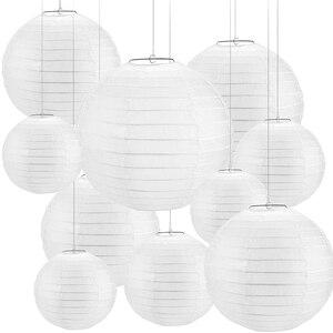 """Image 1 - 30 adet 4 """" 12"""" beyaz kağıt fener çin lanterne kağıt lamba düğün parti cadılar bayramı noel olay asılı dekorlar favor"""