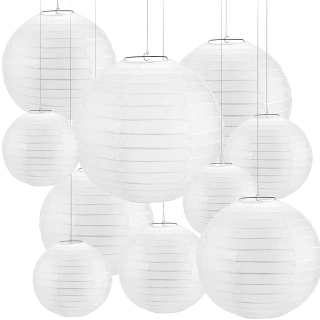 "30 pcs 4"" 12"" White Paper Lantern Chinese lanterne papier lampion Wedding Party Halloween Christmas Event Hanging Decor Favor"