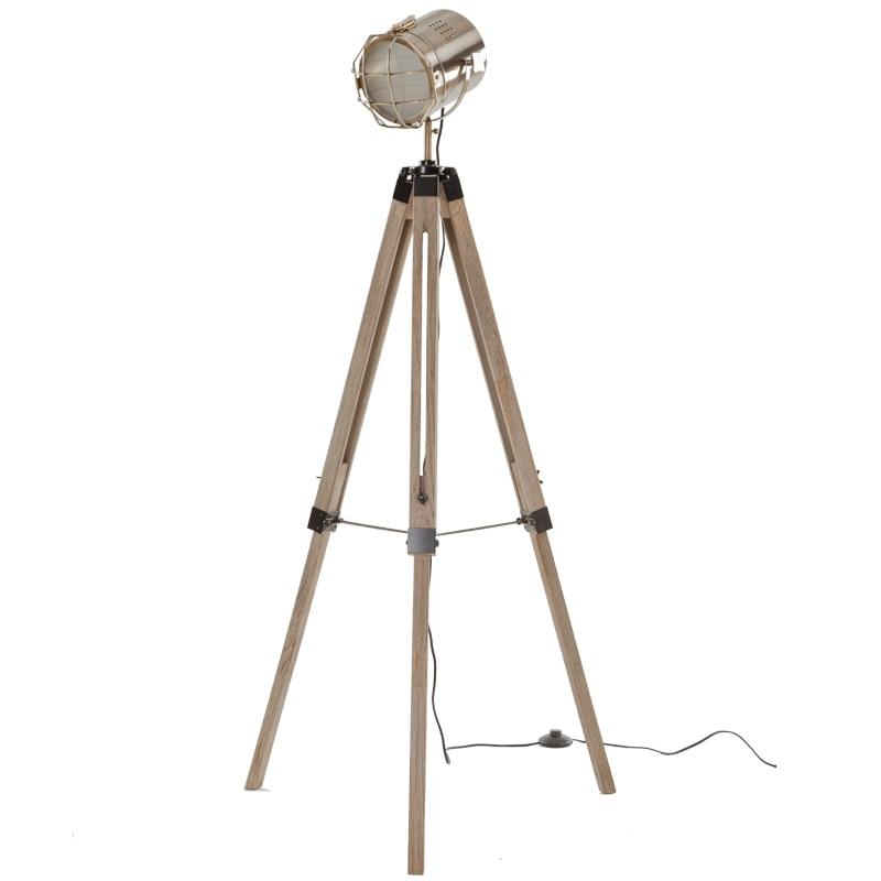 Creative Wood Tripod Chrome Floor Lamp Search Stand Lamp