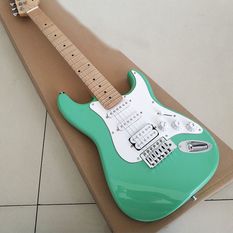 high quality mahogany body electric guitar canadian maple neck light blue body white guard. Black Bedroom Furniture Sets. Home Design Ideas