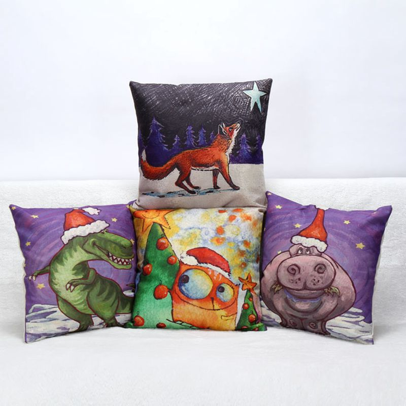 Animal Fox Dinosaur Pattern Polyester Jeter Oreiller Housse De Coussin Voiture Décoration