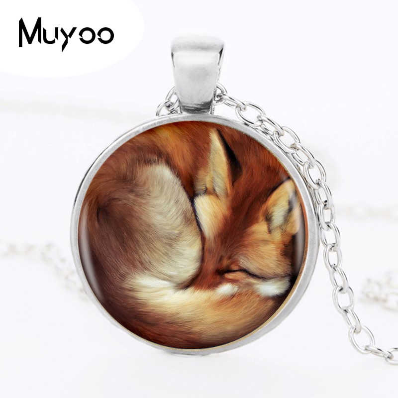 1pcs/lot Fox Silver Pendant Necklace Long Chian Statement Handmade Fashion Necklace For Women Jewelry HZ1