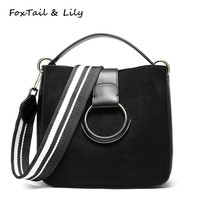 FoxTail Lily Winter New Women Genuine Leather Handbags Frosted Cow Leather Vintage Ladies Wide Strap Shoulder