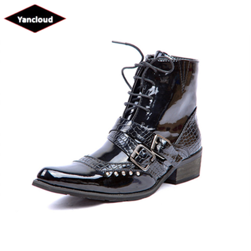 Mens Pointed Toe Patent Leather Rivet Martin Boots 2018 Fashion Punk Rock Ankle Military Boots Work Shoes for Man Winter