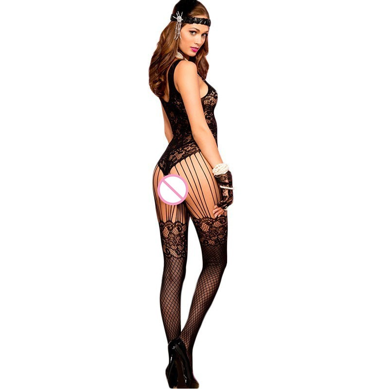 2017-New-Sexy-erotic-lingerie-Lace-and-Fishnet-Floral-Seamless-Lace-Bodystocking-LC79698