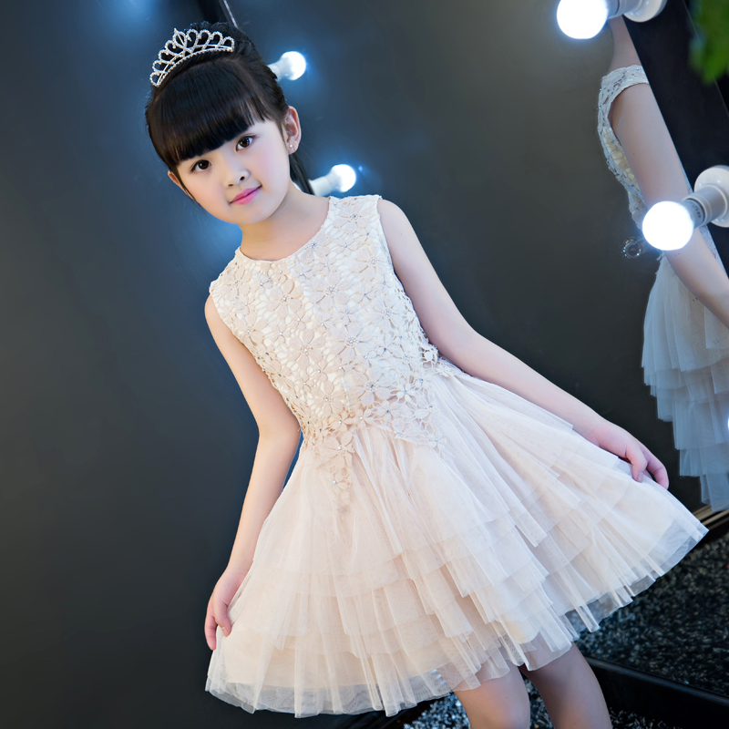 2017New Arrival High Quality Children Girls Princess Lace Dress Wedding Birthday Formal Party Dress Many layers Mesh Dress Wear free shipping new arrival children s clothing child one piece dress twinset winter dress good quality coat dress