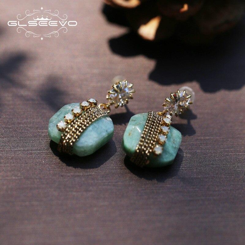 08e2ce4b1b78 GLSEEVO 925 plata esterlina Natural piedra azul