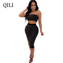 QILI Women Sexy Strapless Dress Diamonds Rhinestone 2 Piece Set Sleeveless Bodycon Dresses Blue Black Wine-red Womens