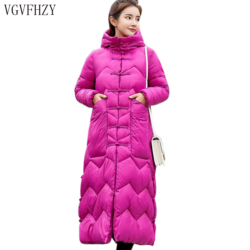 2018 Autumn Winter Women Duck   Downs   Jacket Parkas Sashes Long   Down     Coat   Ladies Thicken Outerwear Hooded   Coats   Plus Size LY1106