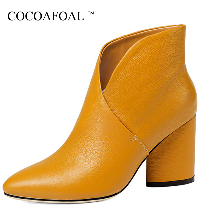 COCOAFOAL Women's Genuine Leather High Heels Chelsea Boots Black Winter Ankle Boots Plus Size Genuine Leather Woman Gothic Shoes 853016 fashionable gothic black leather underbust corset for women black size l