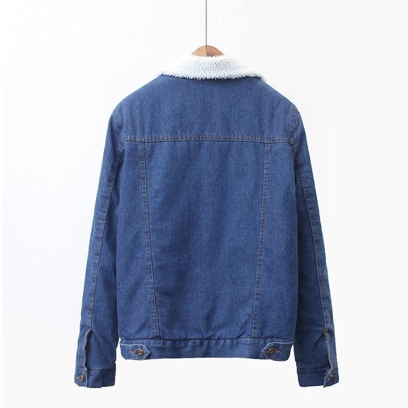 Manteau Coréen Augmenter Faux Blue Femme Lâche Cottonwomen D'agneau Femelle Veste Jeans De Épais Cowboy Denim Hiver Bf Automne Fourrure Survêtement Iq6w7CH