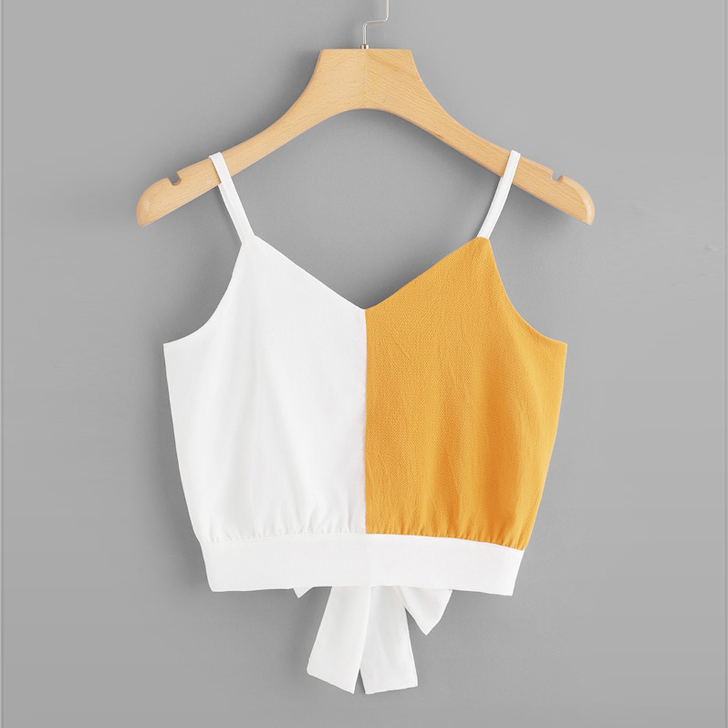 Fashion Tank Top Women Casual Camis Patchwork Sleeveless V-Neck Tie Back Color Block Tops Debardeur Femme Women Tank Top Vest