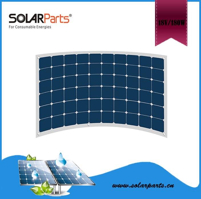 Solarparts 1PCS 180W flexible solar panels 12V mono solar panel solar modules for RV/BOAT/HOME front junction box  MC4 connector
