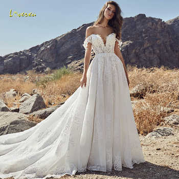 Loverxu Sweetheart A Line Wedding Dress 2019 Demure Applique Off The Shoulder Backless Lace Bridal Gown Chapel Train Bride Dress - DISCOUNT ITEM  30% OFF All Category