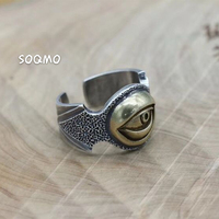 SOQMO Punk Opening Ring 100% Real 925 Sterling Silver fine Jewelry for men women Eye of Devil adjustable Ring SQM054