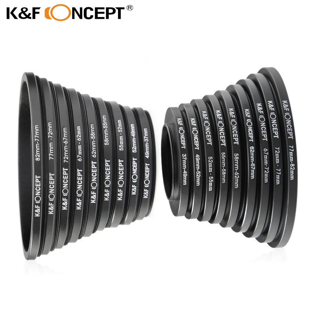 K & F CONCEITO 18pcs 37-82mm 82-37mm Lens Step Up Filtro de Down Anel conjunto adaptador 37 49 52 55 58 62 67 72 77 82mm