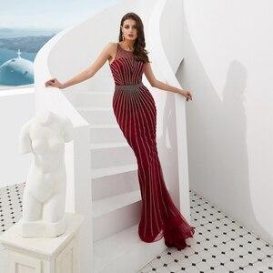 Image 3 - Suknie wieczorowe formalne 2020 suknie na bal maturalny wino czerwone/złote syrenka długa, bez rękawów Crystal Luxury Trail Ladies sukienek eleganckie