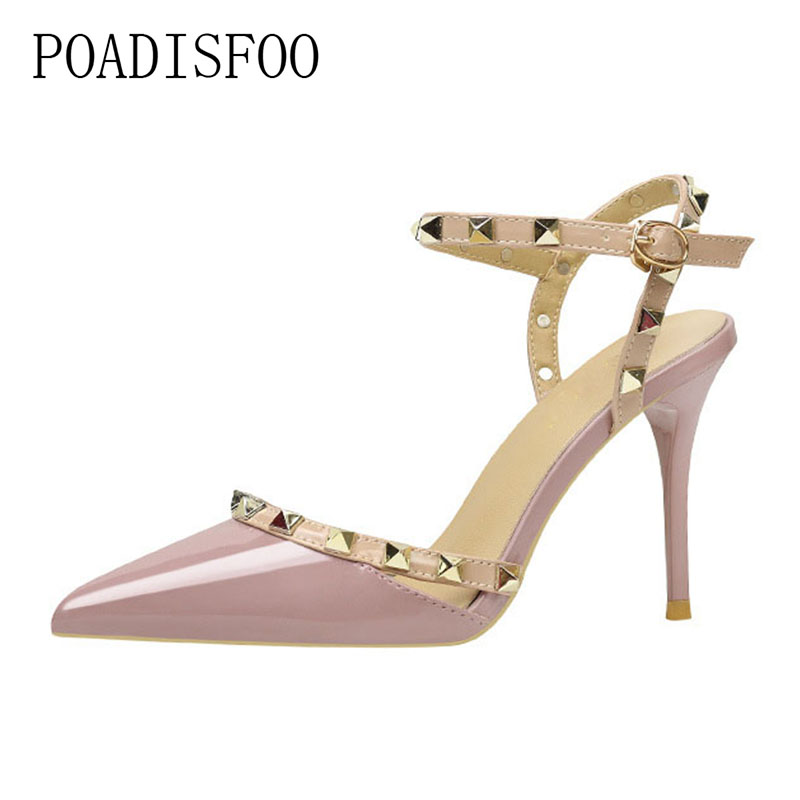 POADISFOO 2018 women pumps Buckle Strap Sexy Nightclub Thin high-heeled Shallow Pointed Rivets Pierced women's Shoes .ZWM-6289-5 bigtree women pumps thin heeled high heels shoes sexy pointed patent leather metal buckle buckle women heeled stiletto g2586 18
