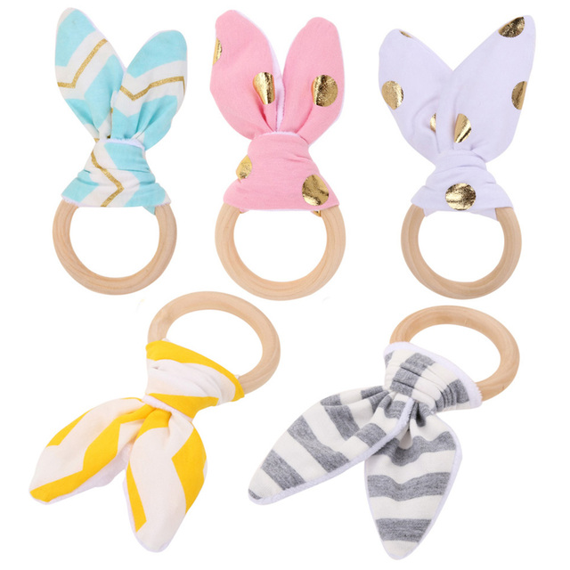 1 Pc Baby Toy Soft Little Rabbit Ears Wooden Hand Grasp Toy Rattles Develop Baby Intelligence Baby Grasping Toy