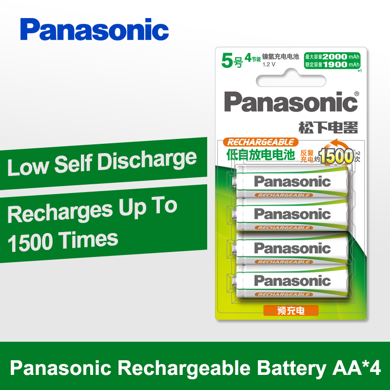 Panasonic 100% Original AA Battery 4PCS/LOT 1.2V 2000mAh Rechargeable Battery Eneloop aa NiMH Batteries For Camera Toys
