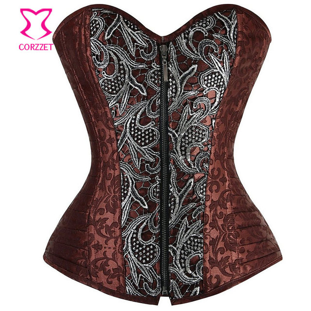 5646ca5308 Silver Appliques Brown Brocade Steampunk Clothing Women Plus Size Corset  Zipper Waist Trainer Sexy Gothic Steel Boned Corsets