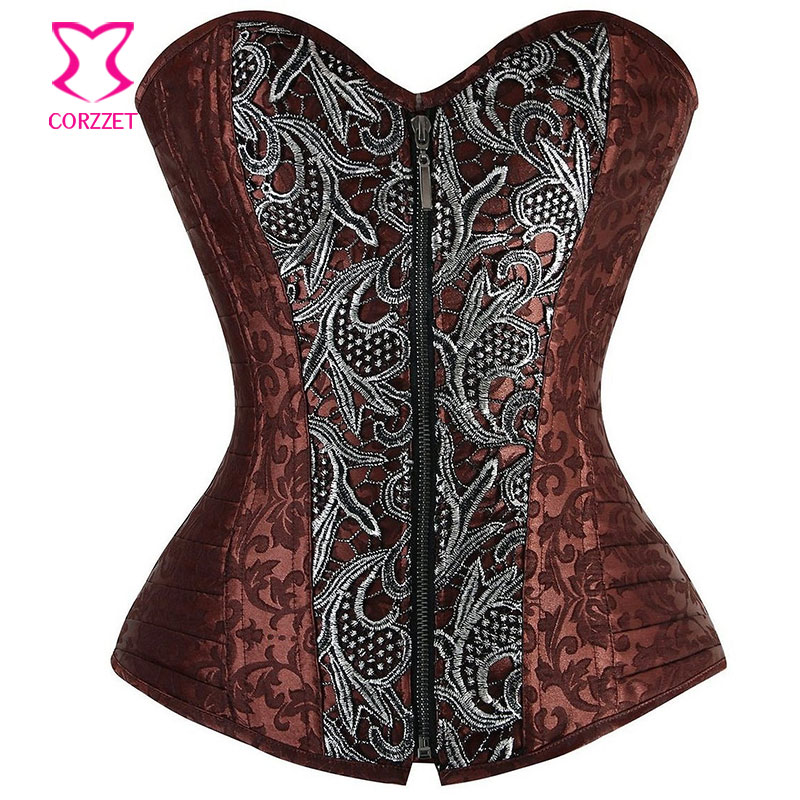 Silver Appliques Brown Brocade Steampunk Clothing Women Plus Size   Corset   Zipper Waist Trainer Sexy Gothic Steel Boned   Corsets