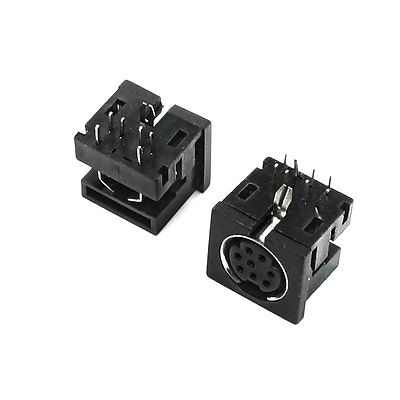 DIN 8 Pin Female S-video PCB Mounted Sockets Connectors 2 Pcs 2pcs pcb panel mount midi female din5 din 5 pin jack d501