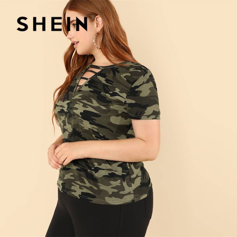 SHEIN Casual Plus Strappy Neck Camo V neck Short Sleeve T-shirt 2018 Mock Neck Stretchy Autumn T-shirt 2